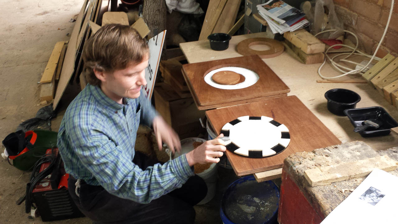 DIY Wind Turbine Hugh Piggott Design Construction, Duncan With Template For Positioning Magnets On Rotor Disc